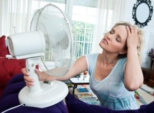An image of a women with a fan blowing in her face because of the heat from the summer weather - ZoomBroom