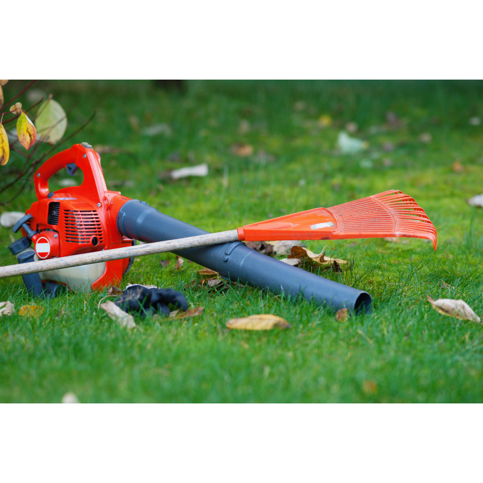 ZoomBroom - An image of a rake and a bulky leaf blower that is very challenging and noisy to use.